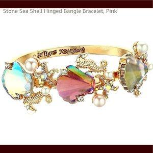 Betsey Johnson Seahorse Shell hinged Bracelet. New